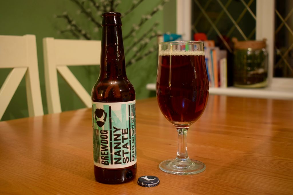 Nanny State non-alcoholic beer bottle and glass