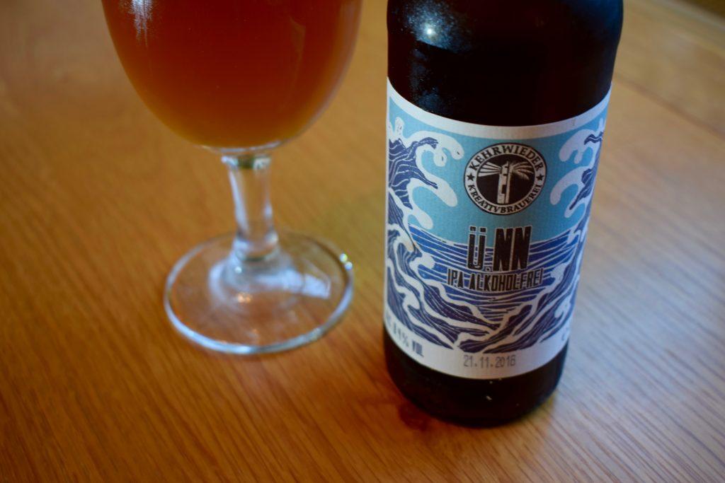 "Kehrwieder ""ü.NN"" (0.4%) IPA label - bottle and glass"