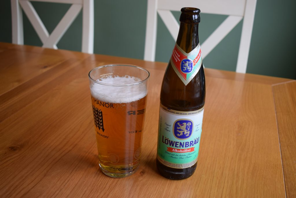 Lowenbrau Alkoholfrei low-alcohol lager bottle and glass