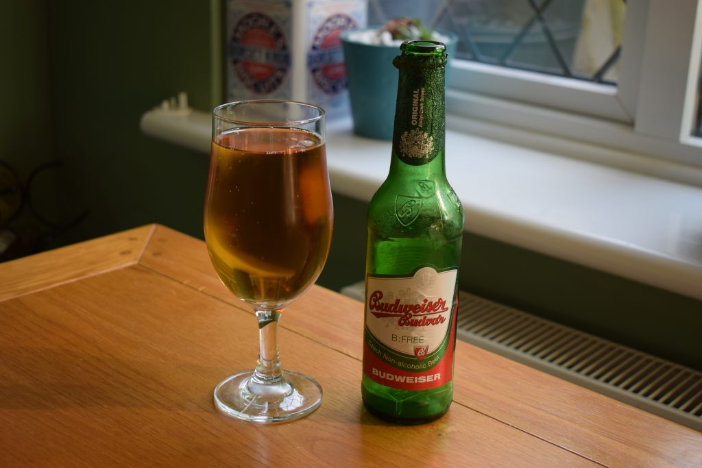 Budweiser Budvar B:Free Alcohol-Free Lager bottle and glass