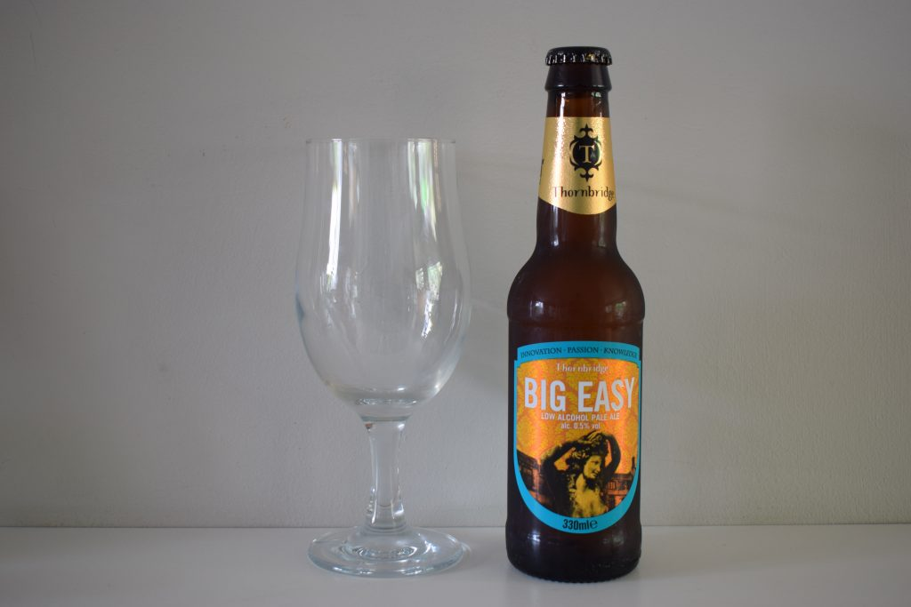 Bottle of Thornbridge Big Easy alcohol-free beer with glass