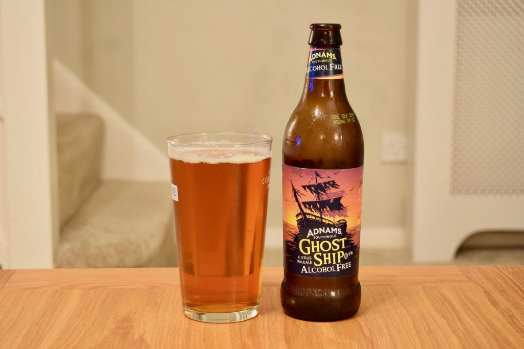 Adnams Ghost Ship alcohol-free beer bottle