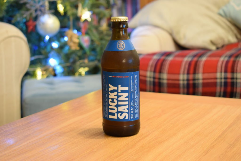 Lucky Saint alcohol-free lager bottle