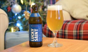 Lucky Saint alcohol-free lager bottle and glass