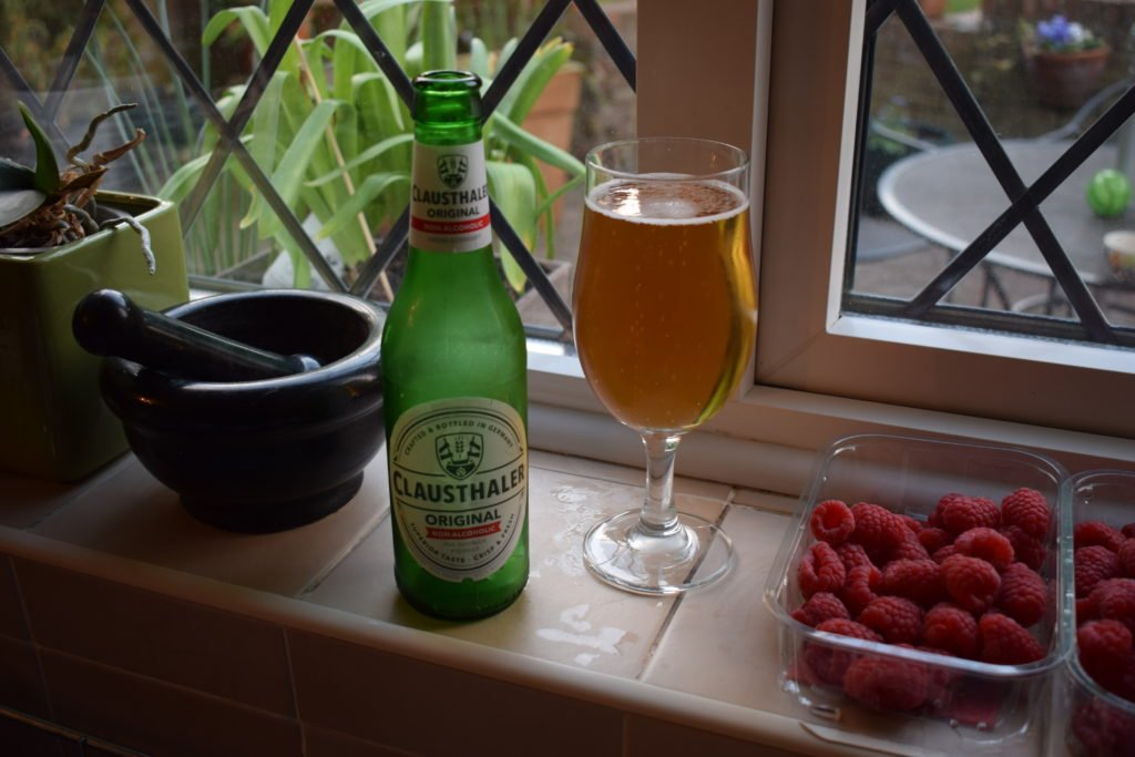 Clausthaler Original Alcohol-Free Lager bottle and glass