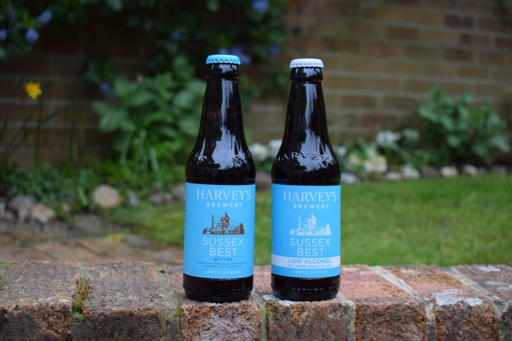 Sussex Best Bitter and Sussex Best Alcohol Free bottles side by side