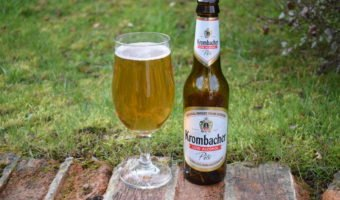 Krombacher low-alcohol pils bottle and glass