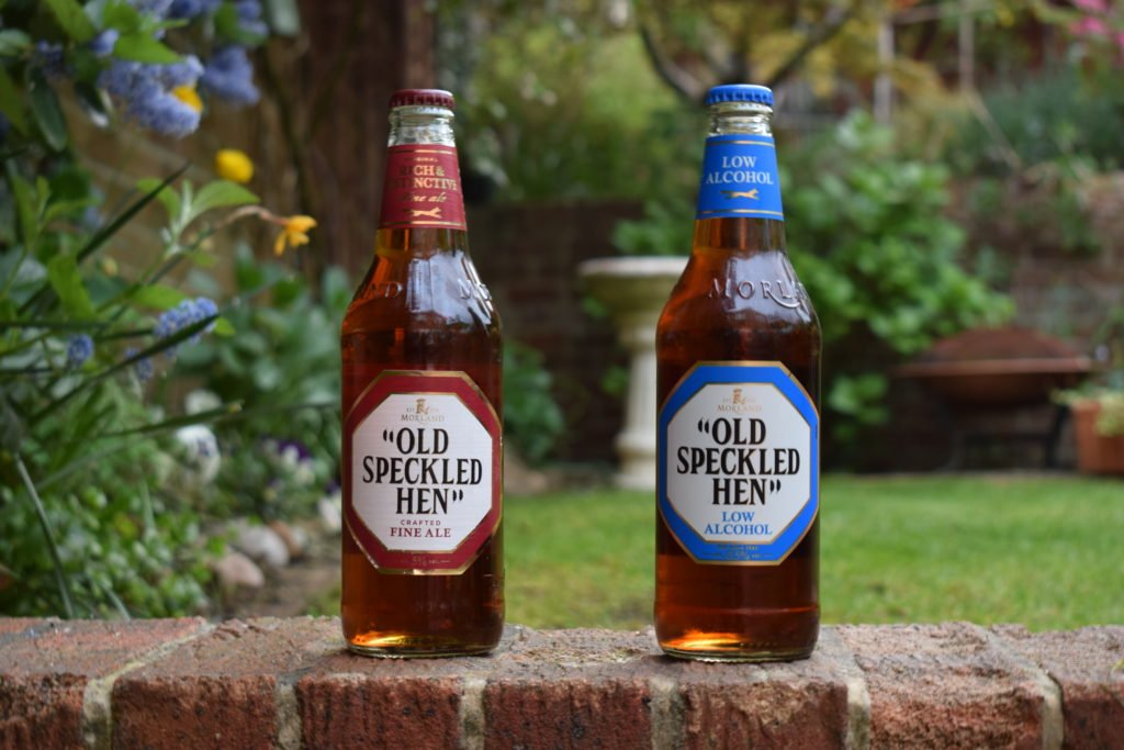 Old Speckled Hen and Old Speckled Hen Low Alcohol bottles