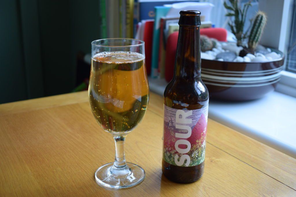 Bottle and glass of Big Drop Sour low-alcohol beer