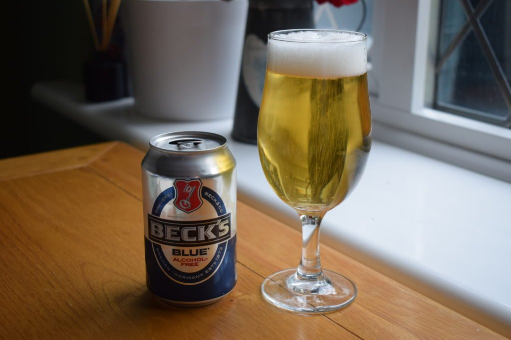 Beck's Blue can and glass