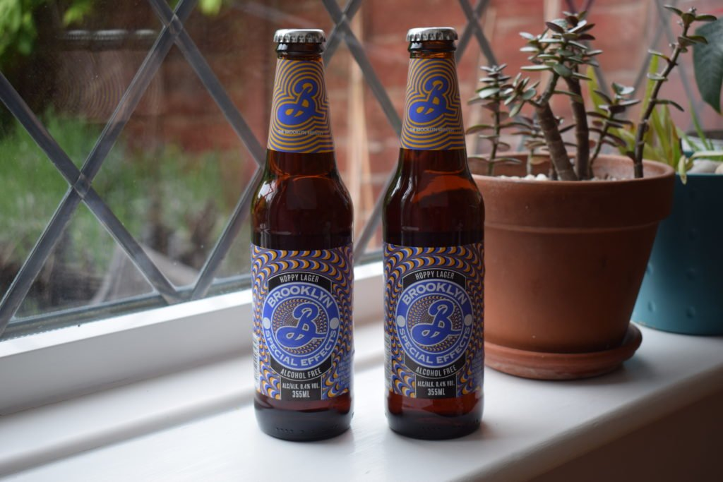 Two bottles of Brooklyn Special Effects alcohol-free lager
