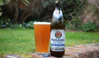 Paulaner Hefe Weißbier Non-Alcoholic bottle and glass