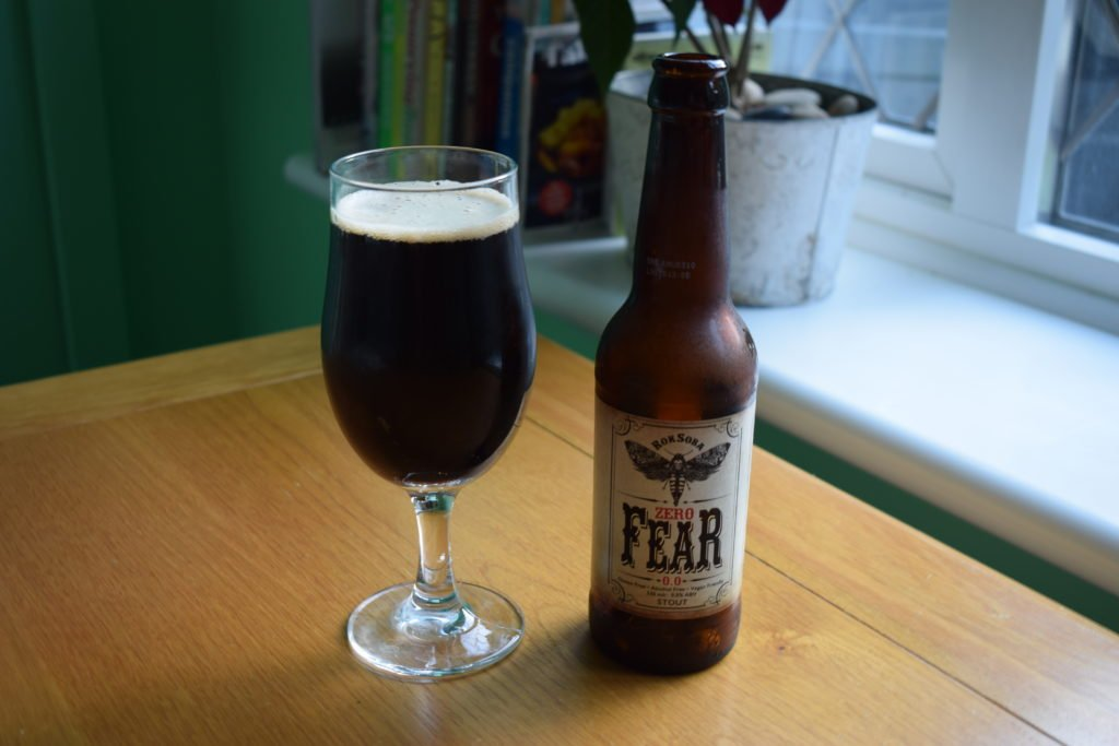 Bottle of Rok Soba Zero Fear Beer and glass
