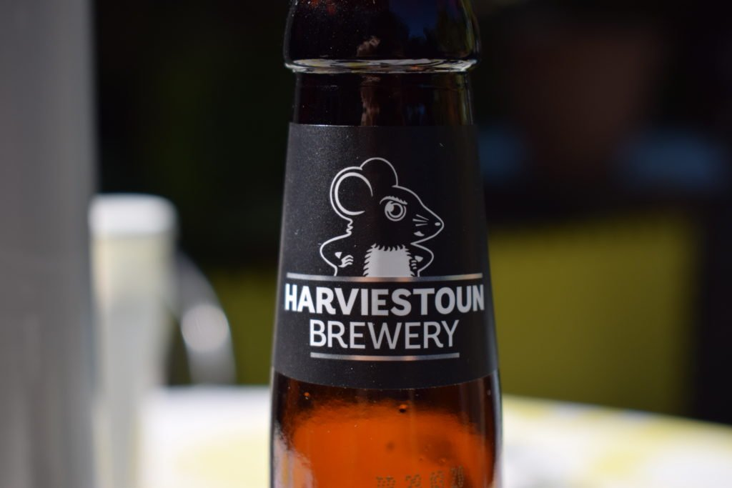 Harviestoun Brewery label close up