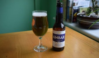 Ambar Non-Alcoholic Gluten-Free 0.0 glass and bottle