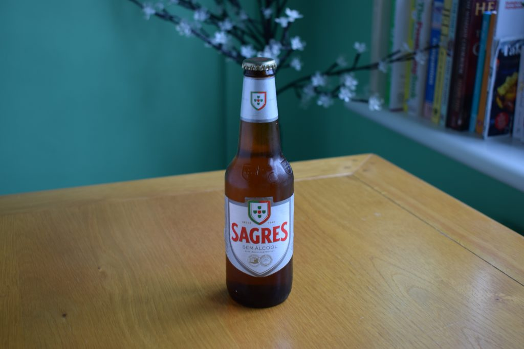 Bottle of Sagres non-alcoholic lager