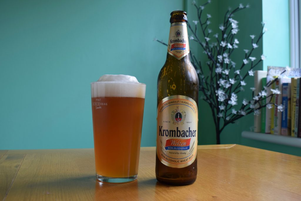 Krombacher Weizen Non-Alcoholic wheat beer bottle and glass