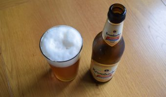 Krombacher Weizen Non-Alcoholic wheat beer bottle and glass from above