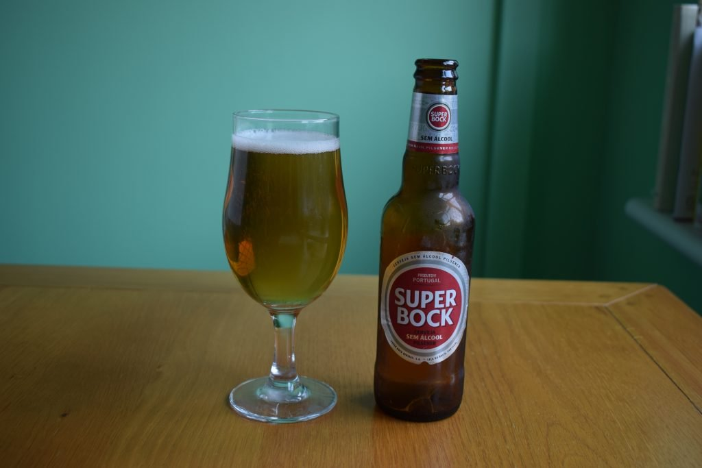 Super Bock non-alcoholic bottle and glass