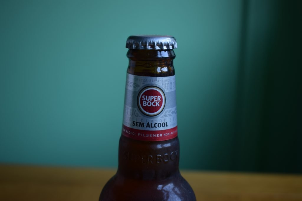 Super Bock non-alcoholic label up close on bottle