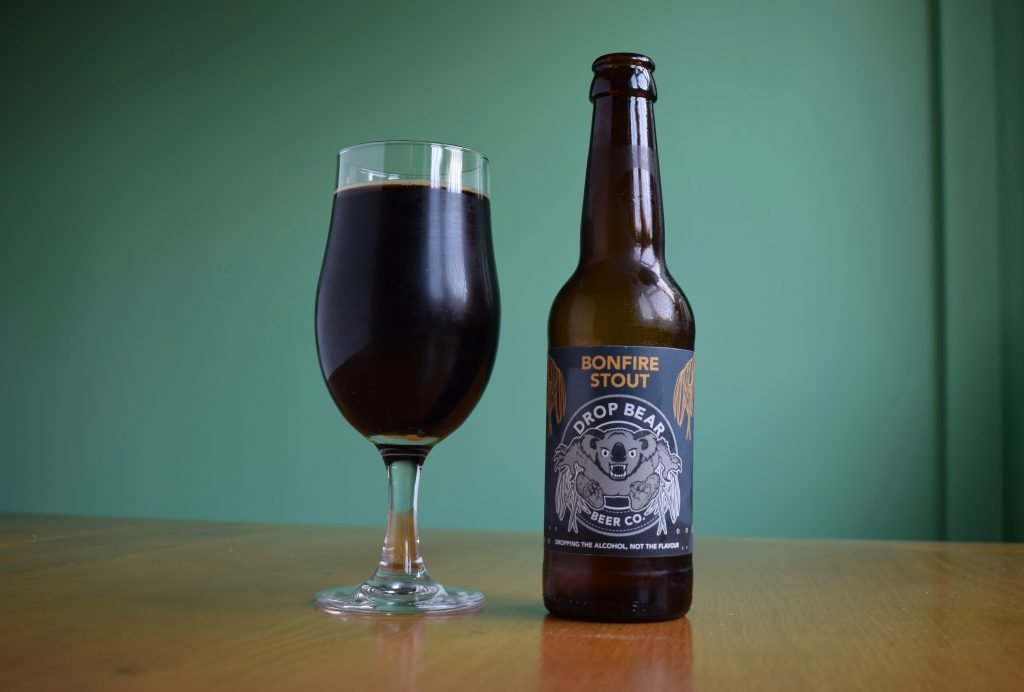 Bottle and glass of Drop Bear Beer Co Bonfire Stout