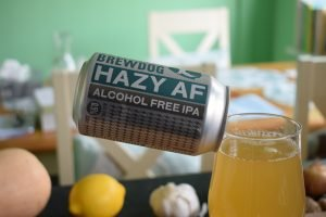 Close up of can of Hazy AF beer