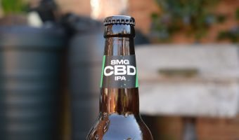 Easy Times IPA non-alcoholic CBD beer bottle close up of label