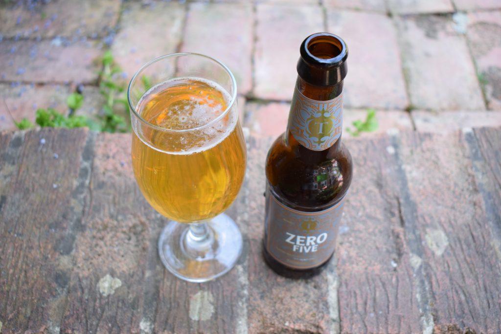 Bottle and glass of Thornbridge Zero Five non-alcoholic beer