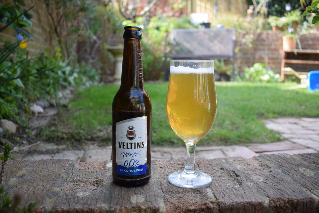 Veltins Alkoholfrei pilsner - glass and bottle