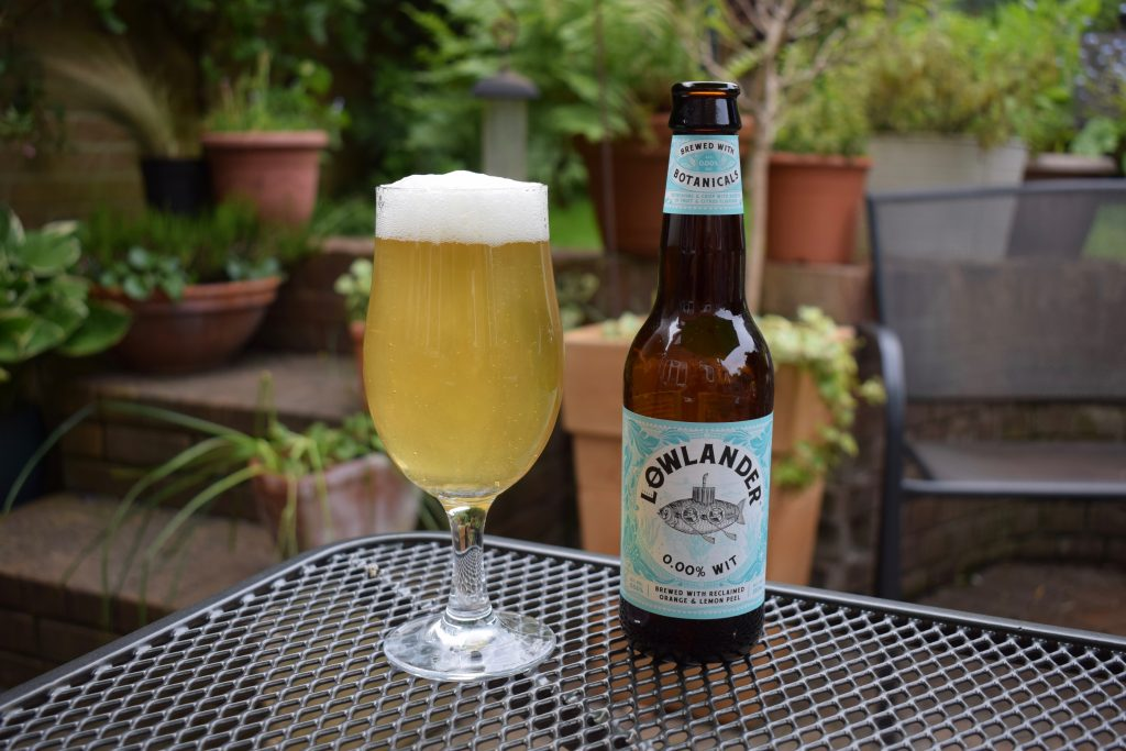 Lowlander Wit non-alcoholic beer - glass and bottle