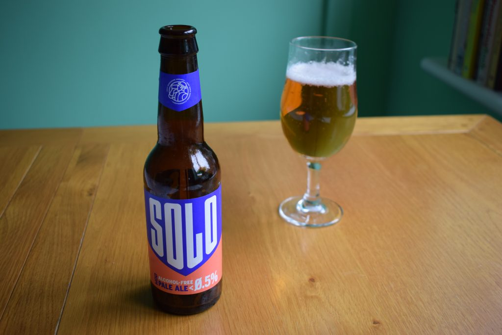 Bottle of WBB Solo non-alcoholic beer with glass