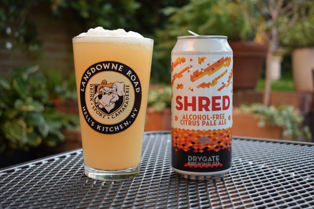 Drygate Shred non-alcoholic citrus pale ale can and poured in glass