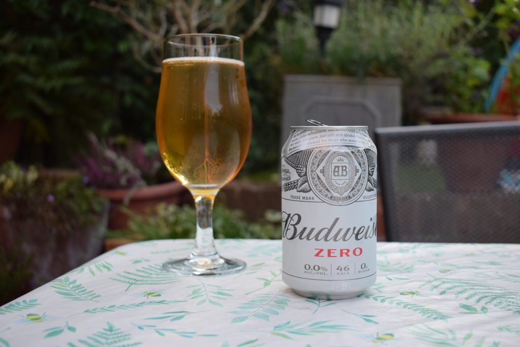 Budweiser Zero Non-alcoholic beer can and glass