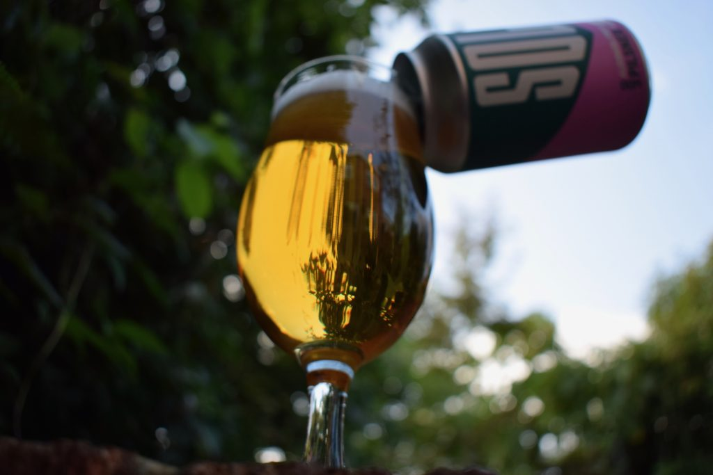 WBB Solo Pilsner glass and can shot from below