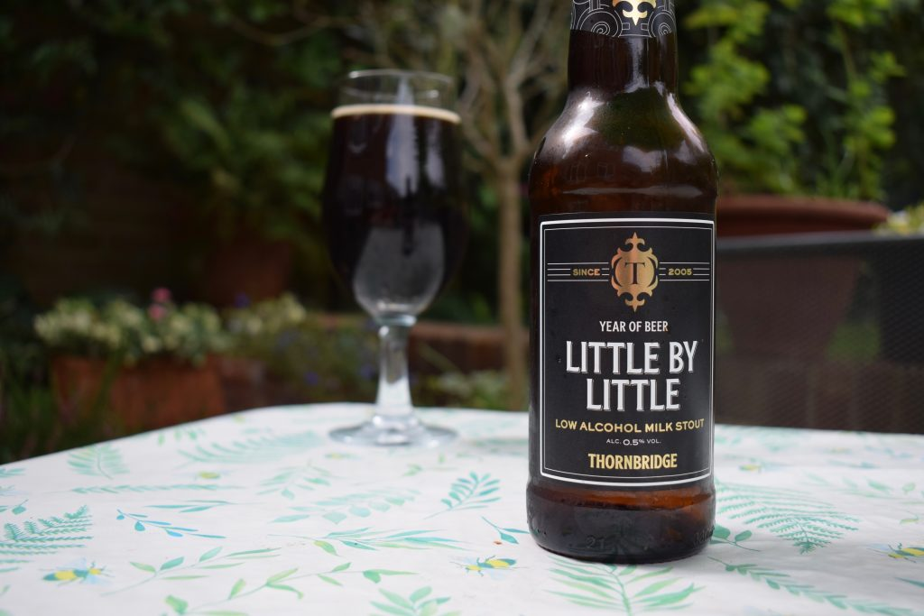 Thornbridge Little by Little non-alcoholic beer bottle with glass in foreground