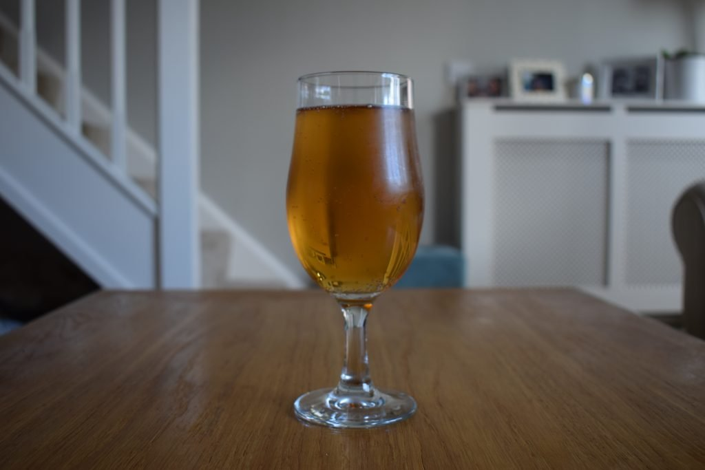 Aldi/Hop Foundry Low Down non-alcoholic IPL glass