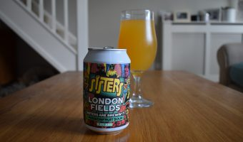 "London Fields ""Sisters"" passionfruit can and glass"