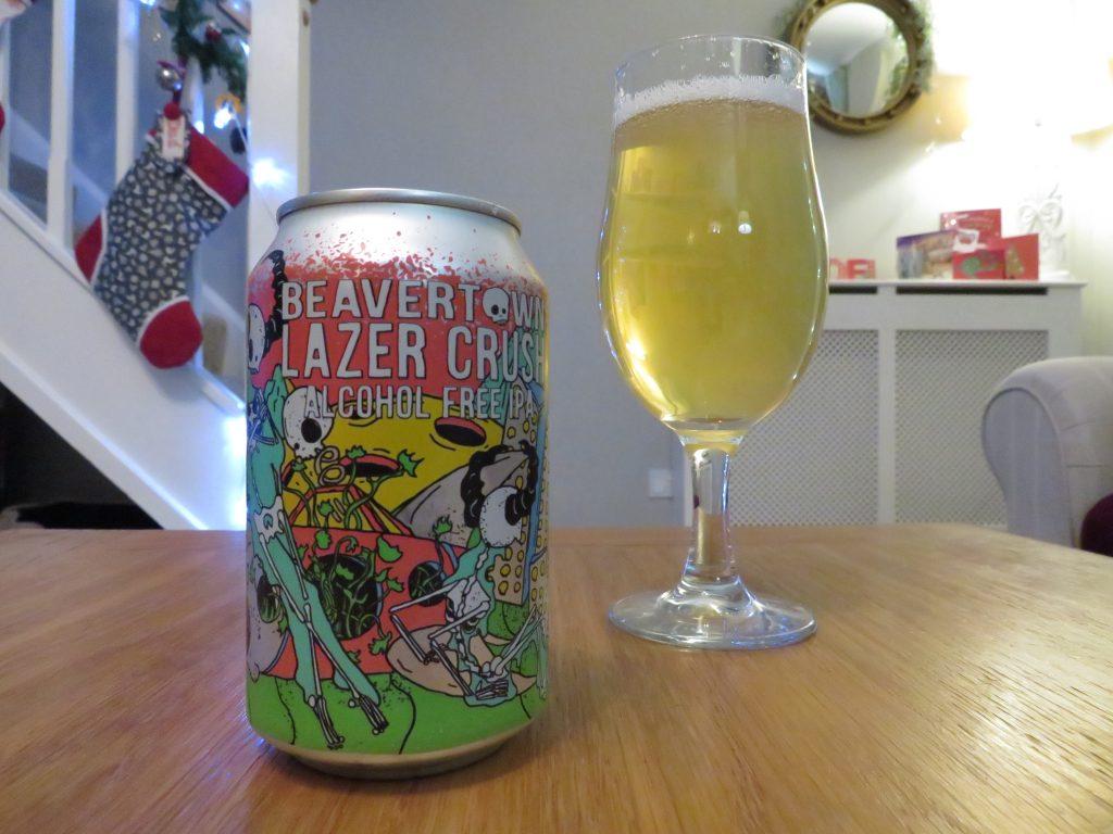 Beavertown Lazer Crush non-alcoholic IPA - glass and can