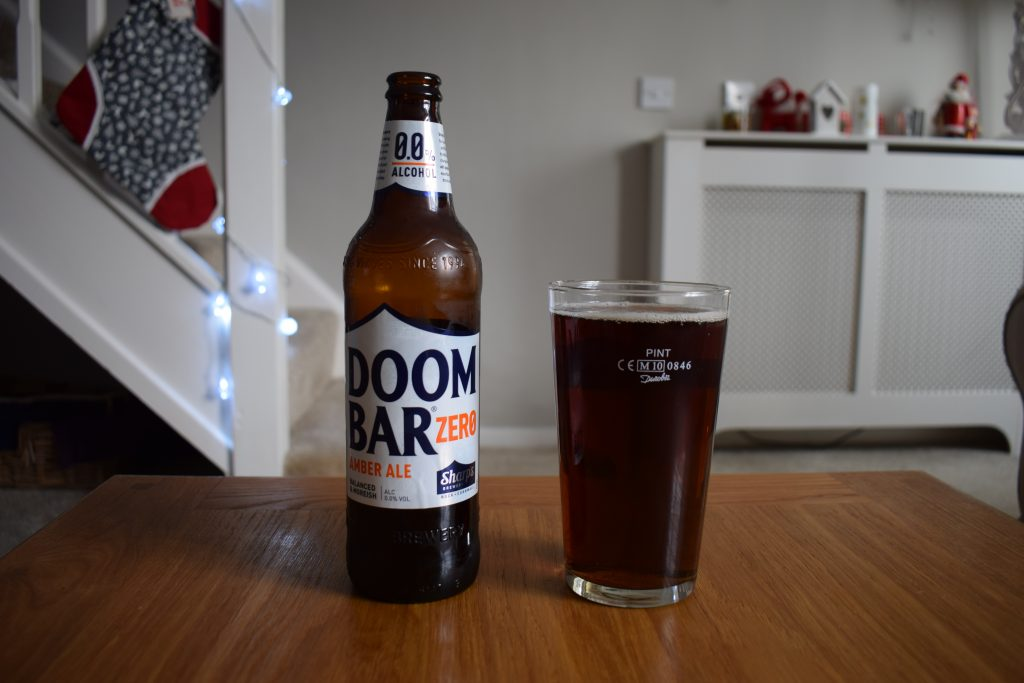 Pint of Doom Bar Zero non-alcoholic beer with bottle