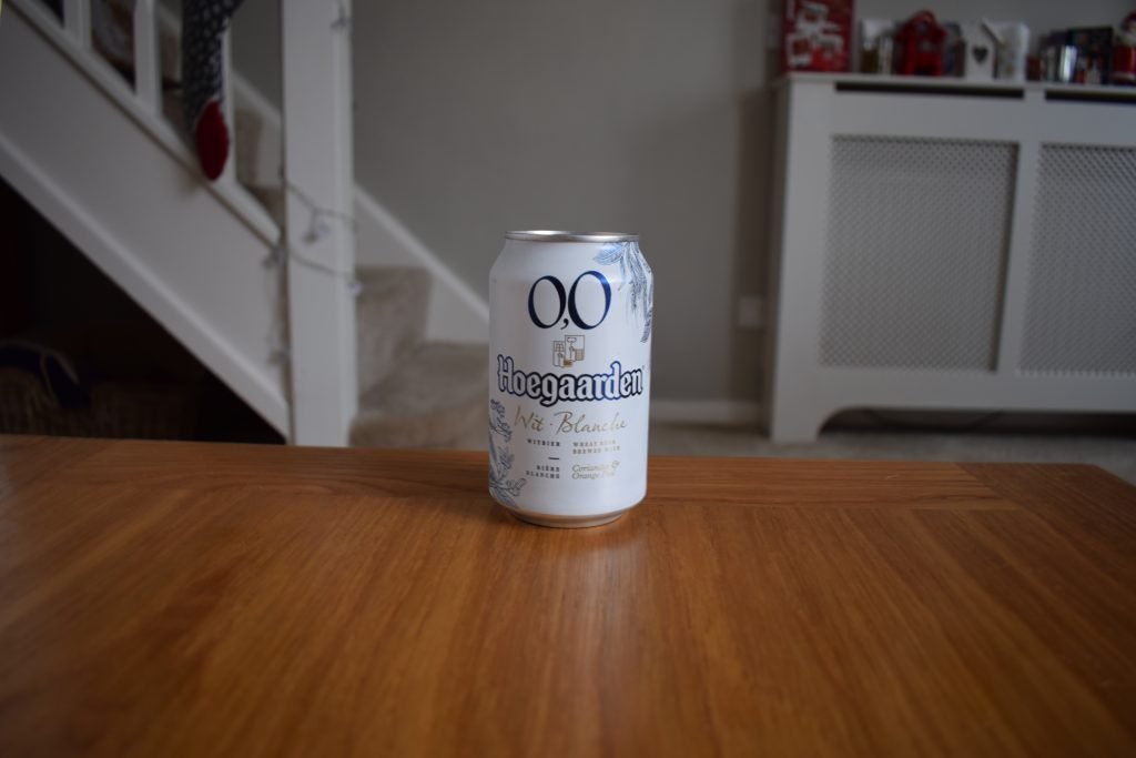 Can of Hoegaarden 0.0 beer