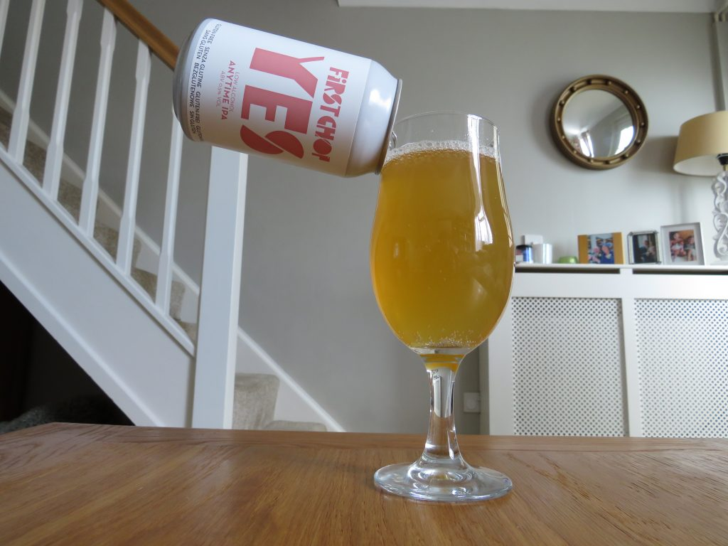 First Chop Anytime IPA can and glass