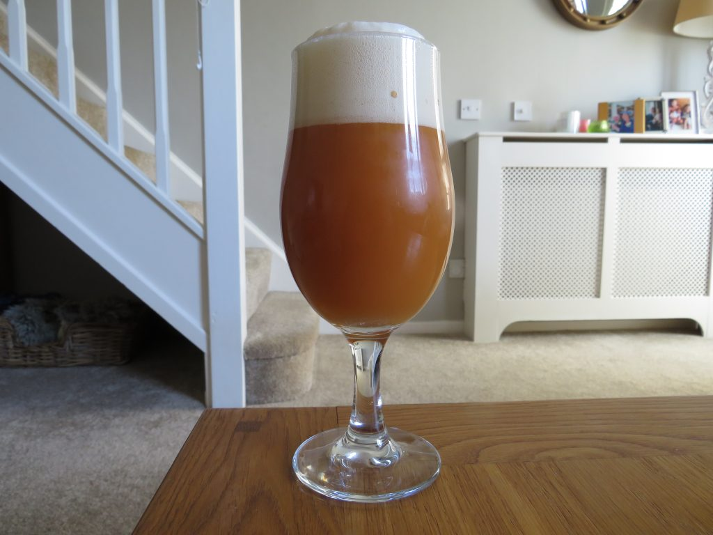 Glass of Omnipollo Nyponsoppa rose hip beer