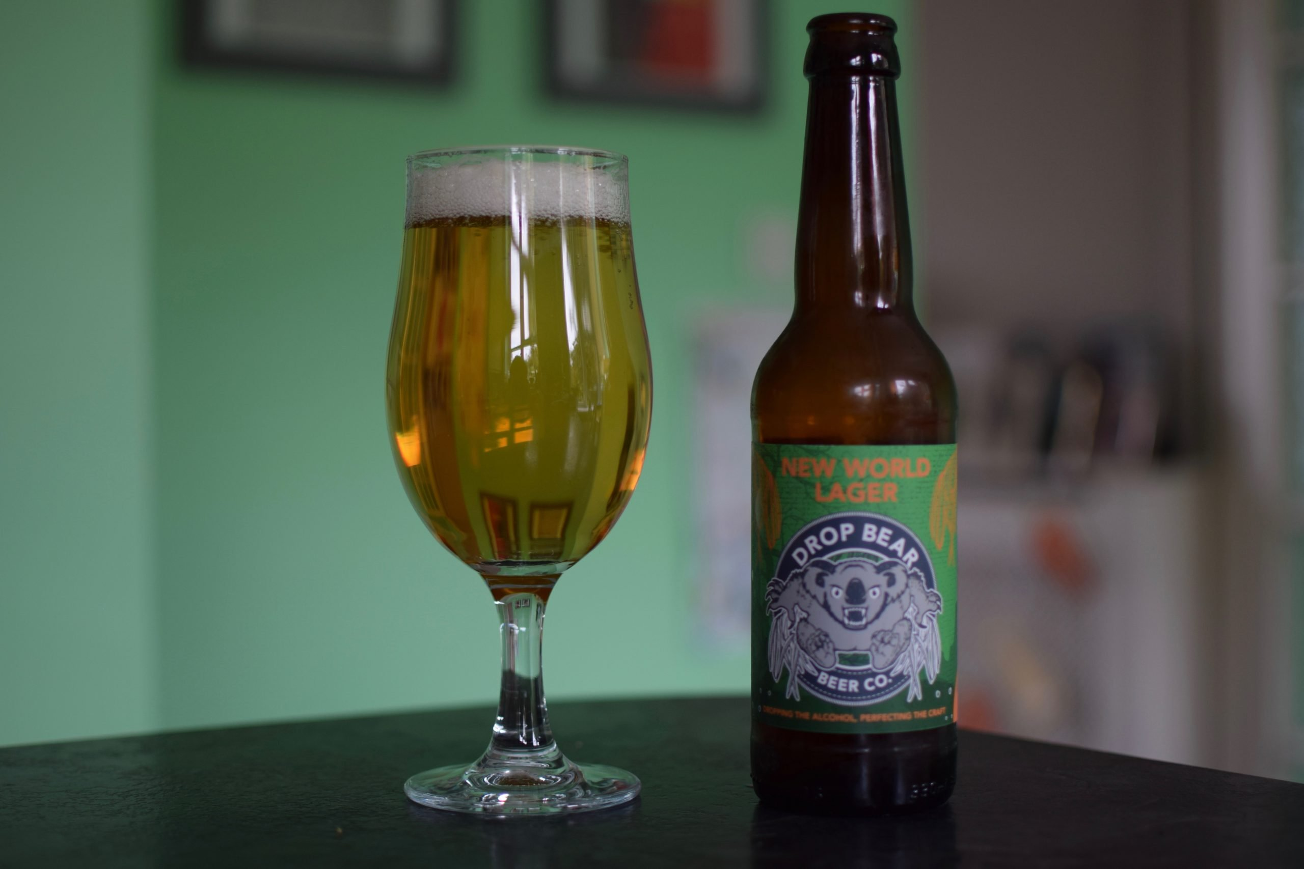 """""""New World Lager"""" (0.5%) by Drop Bear Beer Co"""