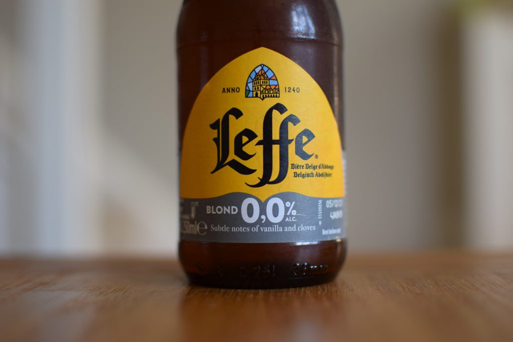 Bottle of Leffe Blond 0.0 - label close up