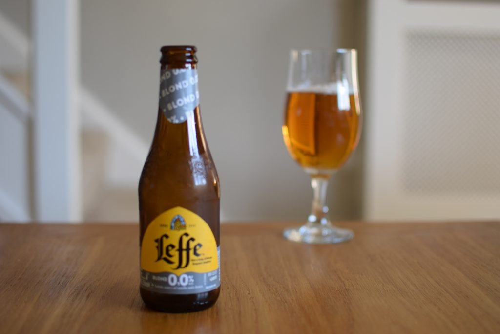 Bottle of Leffe Blond 0.0 with glass
