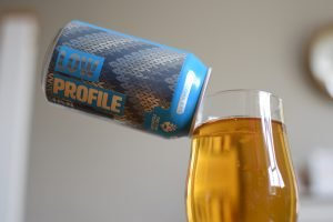 Aldi (Hop Foundry) Low Profile non-alcoholic beer can and glass