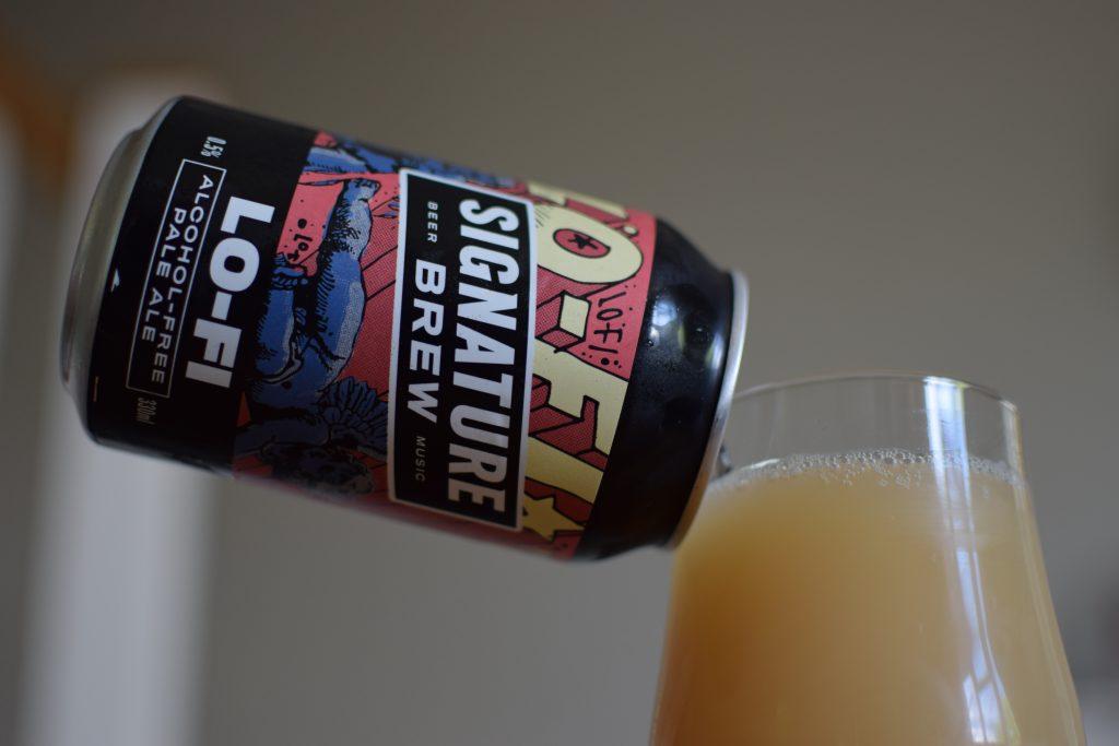 Signature Brew Lo-Fi non-alcoholic pale ale - can and glass