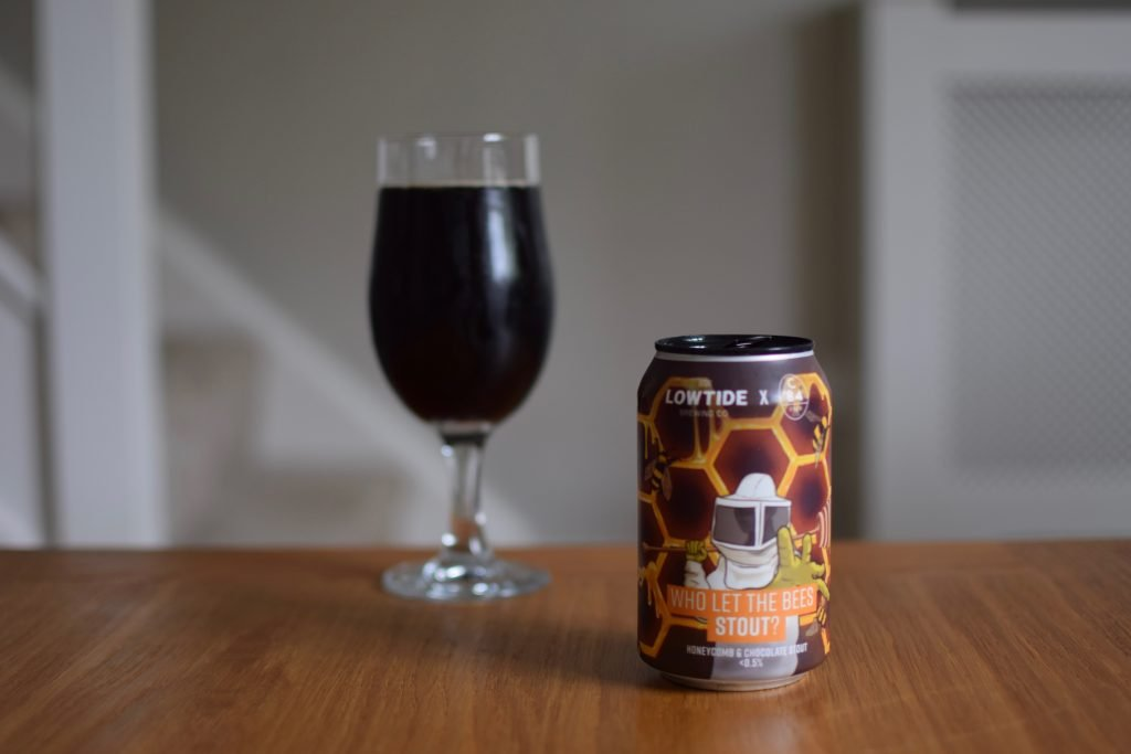Lowtide/C84 Who Let the Bees Stout - glass and can