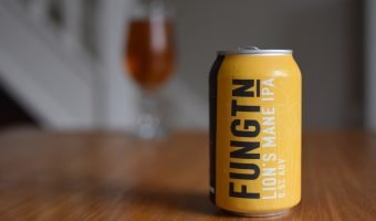 Fungtn Lion's Mane IPA can with glass in background